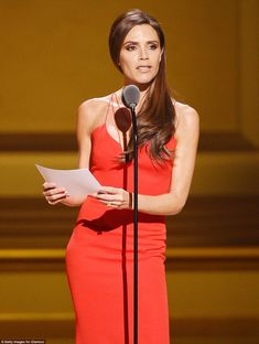 Impassioned speech: The former Posh Spice read a pre-prepared speech to the star-studded a...