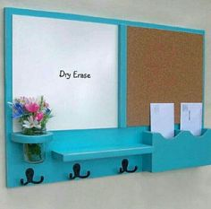 Add calendar, wire baskets, smaller cork board, more hooks, smaller white board