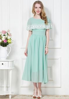 Light Green Plain Short Sleeve Chiffon Maxi Dress