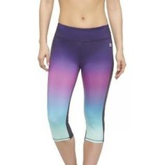 Women's Multi-Color Ombre Yoga Capri Blue/Green/Yellow - RBX - Fitnessmagazine.com