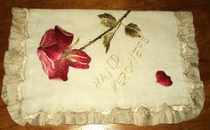 Antique Edwardian Foldover Handkerchief Case Society Silk Embroidery Gorgeous Red Rose Cream Silk Liner Ruffle by TheGatheringVintage on Etsy