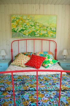 ...with a favourite vintage eiderdown Bedroom Decor. Art.