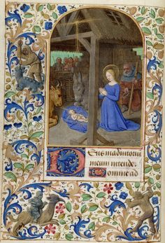Nativity 1400s HM 1163 Book of Hours of Paris manuscript at Huntington Library at Berkeley online at Digital Scriptorium.