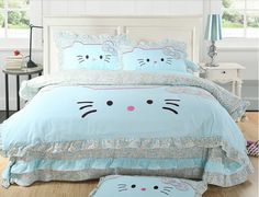 Find More Bedding Sets Information about Lace princess bed skirt hello kitty queen size bedding 4pc  hello kitty comforter set pink duvet cover queen size bed cover,High Quality skirt short,China cover cover Suppliers, Cheap bed set cover from Subu Bedding Factory on Aliexpress.com