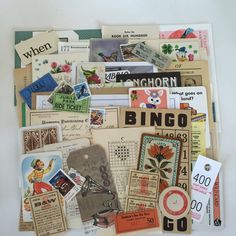 Large SCRAP PACK / 75 Pc. Ephemera Paper Pack for Altered Art, Collage, Mixed Media, DIY Scrap Kit