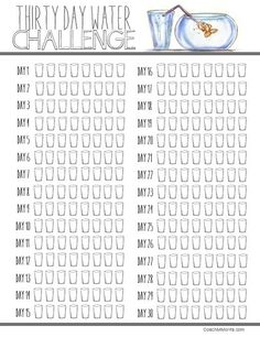 30 day WATER challenge! Ready set FILL your bottles... this is a 30 day DRINK it up challenge with a free PDF printable tracking file. Drink half your body weight in ounces of water OR consume at least 64 ounces each day!
