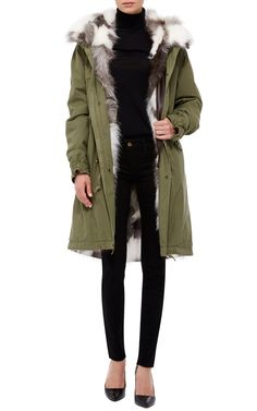 Platino Fox Lined Army Green Parka by Mr
