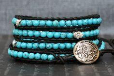skull wrap bracelet turquoise and silver skulls on by CorvusDesign