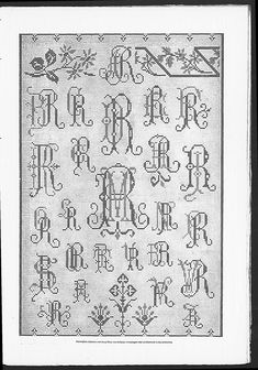 Cross stitch monograms and borders, some with Art Nouveau influences.   (visit site for bigger picture)   Gracieuse. Geïllustreerde Aglaja, 1904, aflevering 22, pagina 215