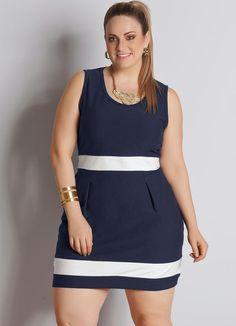 Vestido Bicolor Plus Size Azul Marinho e Branco - Posthaus