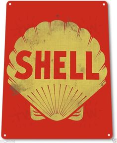 "TIN SIGN ""Shell"" Metal Decor Wall Art Oil Gas Garage Shop Bar A604"