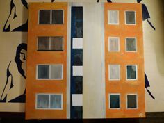 Ťahanovce – paintings, 2016  The paintings capture the original, non-reconstructed blocks of flats at Ťahanovce housing estate. The author is documenting this not-so-popular style of architecture and is trying to aesthetize its original character, which is nowadays slowly disappearing. She emphasizes the traditional minimalist colour-scheme, which strongly contrasts with the recent trend of ice-cream-like pastel colours.  https://www.facebook.com/Petra-Klepcov%…