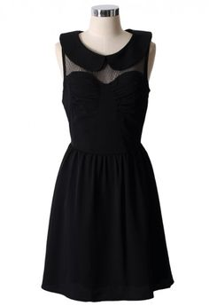 Peter Pan Collar High Waist Dress in Black