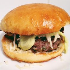 little kitchie: bison burgers with avocado dressing + the best buns ever.