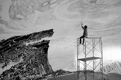 oscar oiwa draws a panoramic japanese landscape inside a giant inflated dome Black And White Landscape, Black And White Drawing, Inside Art, Japanese Landscape, Colossal Art, Landscape Drawings, Oscar, Japanese Design, Japanese Artists