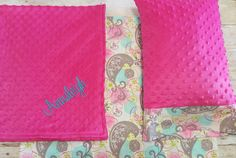 Pink Nap Mat Cover - Pink & Teal Paisley - Birds - Minky - Choose Your Colors - Kindermat - Back To School - Pillowcase - Blanket