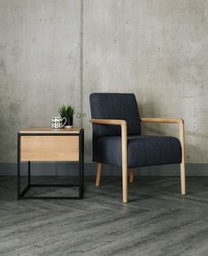 Shoreditch armchair with Monolit bedisde-table - all from Natural Bed Company