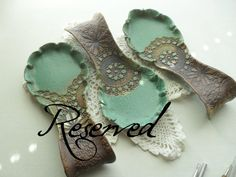Reserved++3+Spoon+Rests+in+Turquoise+and+Yellow+by+WindfallArts