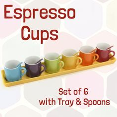 Relax with family and friends while enjoying your espresso in this beautiful set of 6 assorted rainbow colour porcelain cups.