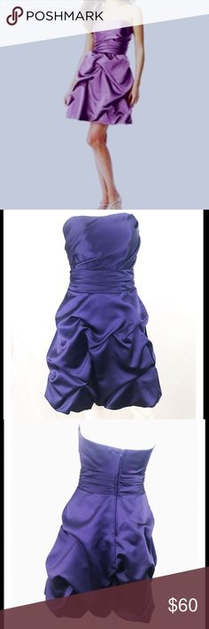 """David's Bridal Short Strapless Pick-up Dress David's Bridal short pick up dress in a deep plum color. First pic modeled is a little lighter than the actual dress, but it's the exact dress. Stunning dress in excellent condition. Features hidden zipper in the back, great structure and full a-line skirt.  •measurements•  Length: 30"""" Bust: 34""""  Waist: 28""""  100% polyester David's Bridal Dresses Strapless"""