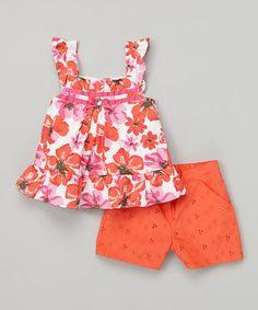 Orange Floral Tank & Shorts - Infant, Toddler & Girls #zulily #zulilyfinds