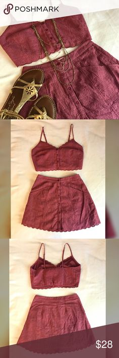 Rose crop top & skirt set Gorgeous deep rose colored button up crop top and skirt set. Forever 21. Worn once, great condition. Both pieces are fully lined and skirt has pockets. Please note that the skirt is a small and top is a medium! If you are interested in buying one of the pieces individually, let me know!                            🌸Make me an offer!🌸 Everything must go! Create and buy bundle with at least 2 items and automatically save 10%. I offer private discounts on nearly all…