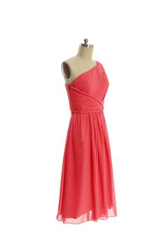 One shoulder chiffon dress with natural waist (with 5% off)