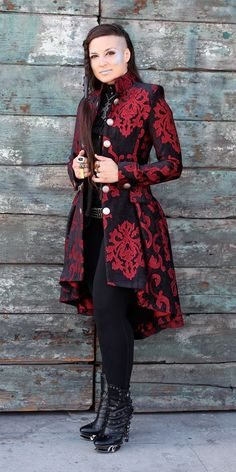 LIONHEART COAT - RED ON BLACK VELVET BROCADE. Love the coat!