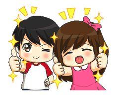 LINE Creators' Stickers - Jun-kun & Jane-chan Animated! Example with GIF Animation Cute Cartoon Images, Cartoon Gifs, Cartoon Icons, Emoji Happy Face, Animated Emoticons, Love Cartoon Couple, Cute Love Gif, Happy Kids, Cute Couples