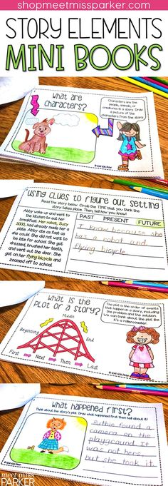 Story elements mini books for character, plot, and setting! Help your first grade and second grade students understand character traits, character development, problem and solution, first next then last, and more!