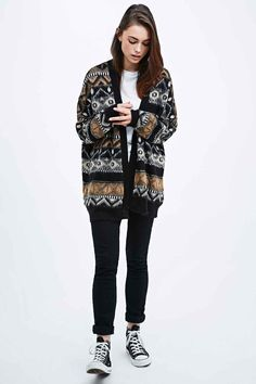 BDG Brushed Tribal Cardigan in Black