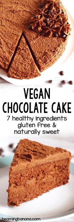 This vegan chocolate cake is full of deep rich chocolate flavor and smothered in sweet creamy chocolate fudge frosting! Made in just 1 bowl with 6 healthy ingredients totally gluten free and fruit sweetened. Healthy Vegan Snacks, Vegan Treats, Vegan Desserts, Raw Food Recipes, Vegan Dishes, Vegetarian Recipes, Dessert Recipes, Chocolate Fudge Frosting, Chocolate Flavors