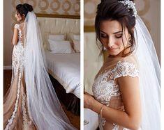 Elegant veil, single tier, wedding veil, bridal veil, diamond white, light ivory