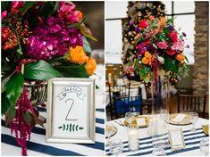 Jamie Tervort Photography, Cedar Hills Utah, Winter Wedding, Orange, Navy, Magenta, Purple Flowers, Centerpieces, Wedding Table Numbers, Table Decoration