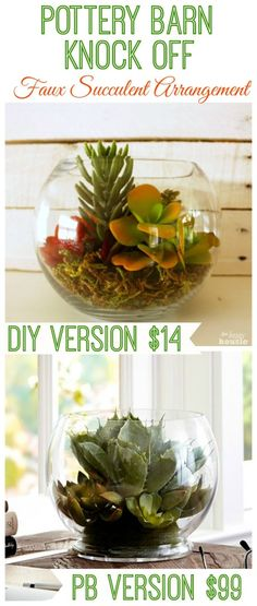 Make your own version of this beautiful Pottery Barn Faux Succulent Arrangement - for a fraction of the cost - quick, easy knock off tutorial at The Happy Housie