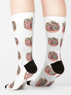 'Vintage Retro Camera Old School Vintage Photography' Socks by Retro Camera, Designer Socks, Vintage Photography, Crew Socks, Old School, Chiffon Tops, Looks Great, Retro Vintage, Classic T Shirts
