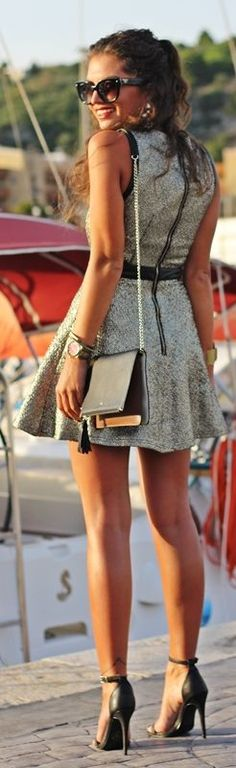 Fashion Pills Golden Blue Sophisticated Side Cutouts Party Mini Skater Dress by Fashion Hippie Loves