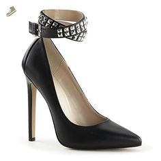 Pleaser Women's Sexy 24 Ankle Strap,Black Leather,US 5 M - Pleaser pumps for women (*Amazon Partner-Link)