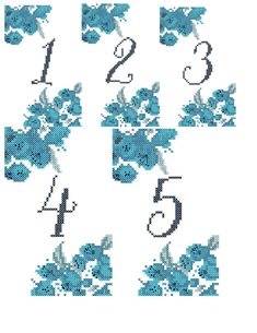 Cross Stitch Pattern: Watercolor Flowers Wedding Table Numbers Counted Cross Stitch Charts - Numbers by oneofakindbabydesign on Etsy Wedding Cross Stitch Patterns, Counted Cross Stitch Patterns, Cross Stitch Charts, Cross Stitch Designs, Wedding Table Flowers, Wedding Table Numbers, Flower Table, Celtic Cross Stitch, Modern Cross Stitch