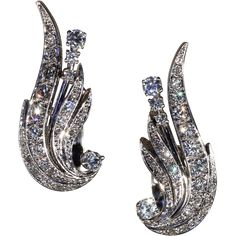 Vintage Diamond Retro Wing Earrings in 14k Gold, Clips c. 1950