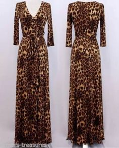 Beautiful leopard animal print faux wrap jersey maxi dress - great for cruises, parties, weddings, travel. Mod Dress, Maxi Wrap Dress, Wrap Dresses, Animal Print Fashion, Fashion Prints, Women's Fashion, Animal Print Maxi Dresses, Hijab Dress, Leopard Dress