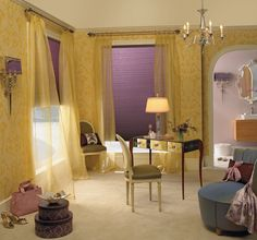 Yellow and purple are so striking together, but it takes some guts to decorate with a complementary scheme.