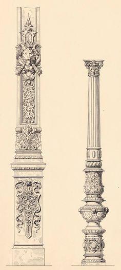 Column designs Classic Architecture, Gothic Architecture, Historical Architecture, Ancient Architecture, Architecture Details, Gothic Buildings, Column Design, 3d Models, Architectural Elements
