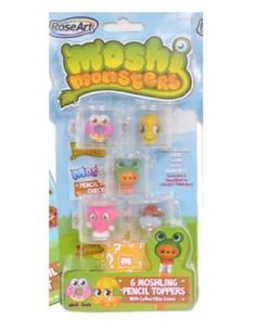 Moshi Monsters Moshlings Pencil Toppers Mr. Snoodle, Oddie, Scamp, Roxy & Humphrey by Mega Brands, Inc. $13.99. Character Checklist. 6 Pencil Toppers. Collect them all!. 6 Topper Cases. Variety includes Mr. Snoodle, Oddie, Scamp, Roxy, Humphrey & 1 Mystery Moshling. Moshi Monsters Moshlings Pencil Toppers.  The moshling pencil topper sets come with col interlocking cases so you can mix and match with friends!  Each package comes with a variety of 5 Moshlings and 1 Mystery ...
