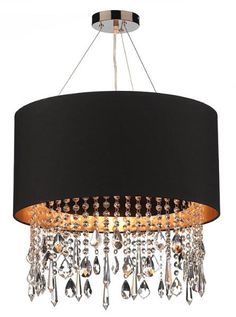 Modern Black Pendant Light with Gold Reflective Lining and Crystal