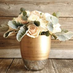 Nothing looks more elegant than sweet pink roses in a gold vase. Order yours from the Bouqs.