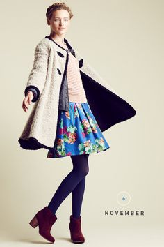 """""""By late-fall-almost-winter, summer will be a distant memory, except for your adaptable skirt. The final stage in its outfitting metamorphosis? A statement-making but still-cozy coat—love the swingy shape of this one!—opaque tights and season-right suede booties."""""""