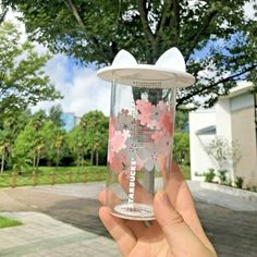 STARBUCKS China Cherry Blossom Color-changing Glass Cup//Tumbler with Handle 12oz