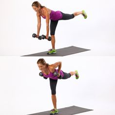 This rowing variation works the backside beautifully — and not just your bum. It targets the hamstrings and upper back along with the glutes. Stand up straight and hold two dumbbells with palms facing each other. Lift up your left foot so you are balancing on your right leg. Find your balance, then sweep your left leg back and extend your arms toward the floor. Holding this position, bend your elbows back so that the dumbbells meet the sides of your chest. Keep your shoulders down and ...