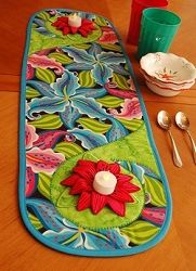 3D Flowers with Swirly Table Runner - 5x7   Floral - Flowers   Machine Embroidery Designs   SWAKembroidery.com Sealed With A Stitch